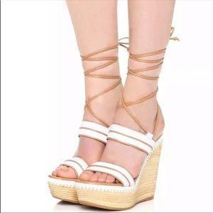 $565 Stuart Weitzman Abandon Wedge Lace Up Ankle